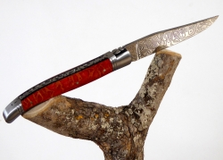 Forged and Guilloched/Chiseled Laguiole, Damascus Steel Blade, Handle Made Off Red Coral