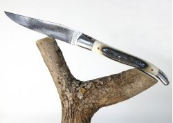Laguiole Knife with Damascus Inox Blade with its Ivory Crust of Mammoth's Tusk Handle
