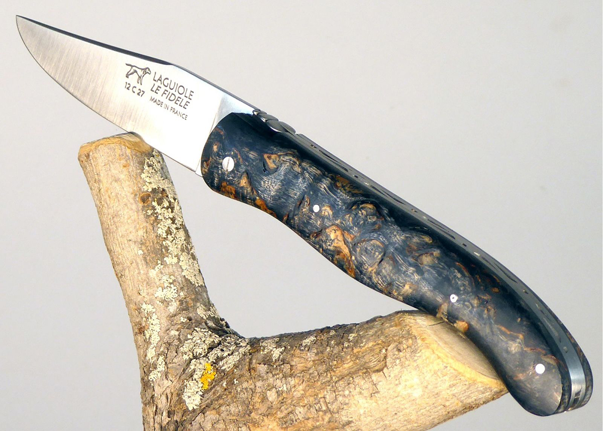 Laguiole Hunting Knife, Forged Spring and Bee, Dark Tinted Birch Wood Full Handle