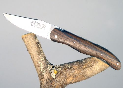 Laguiole Hunting Knife, Forged Spring and Bee, Walnut Full Handle