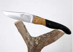 Laguiole Hunting Knife, Forged Spring and Bee, Olive Wood Bolster, Ebony Wood Full Handle