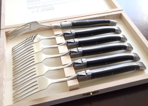 Laguiole 6 table forks set with its Natural Ebony wood handle