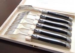 Coffret de 6 fourchettes Laguiole avec son manche en bois d'ébène véritable