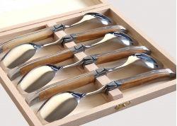 Coffret de 6 grandes cuillères Laguiole avec son manche en bois d'olivier
