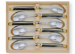 Laguiole 6 table spoons set with its Natural brown Horn handle