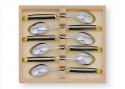 Laguiole 6 table dessert spoons set with its Natural brown Horn handle