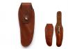 Brown leather on belt sleeve