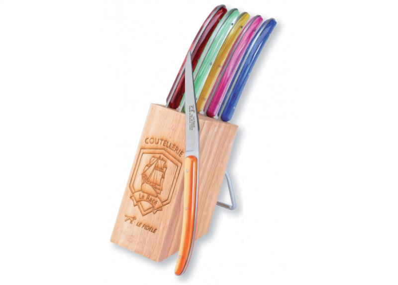 6 Laguiole Race knives - Multicolor Madreperlato handle