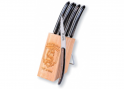 6 Laguiole Race knives - Black color Madreperlato handle