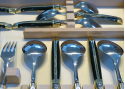 Laguiole Set - 6 knives, 6 forks, 6 spoons and 6 dessert spoons with its Natural brown Horn handle