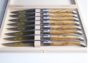 Coffret de 6 couteaux Laguiole avec son manche en bois d'olivier