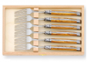 Laguiole 6 table forks set with its Natural Oliver tree wood handle