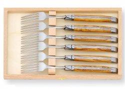 Coffret de 6 fourchettes Laguiole avec son manche en bois d'olivier