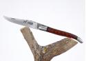 Couteau Laguiole bombé - manche en bois d'Ebène du Cameroun et amourette du Surinam - mitres acier