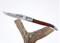 Rounded Laguiole knife - Cameroun Ebony and Surinam amourette wood handle - stainless steel bolsters