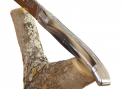 Laguiole Knife with its Natural Blond Horn Tip Handle, Stainless Steel Bolsters