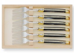 Laguiole 6 table forks set with its Natural brown Horn handle