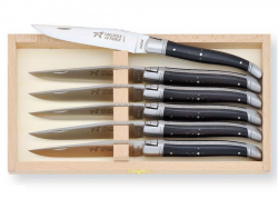 Laguiole 6 table knives set with its Natural Ebony wood handle + 1 Free Chees Set
