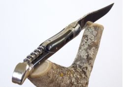 Laguiole Knife Corkscrew with its Natural Brown Horn Handle, Stainless Steel Bolsters